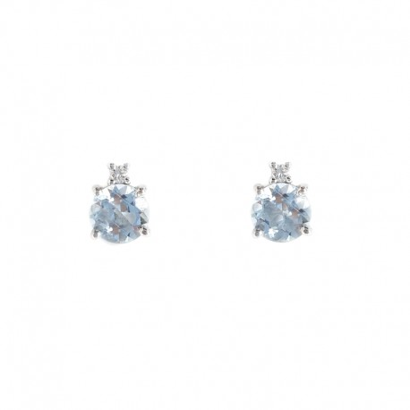 Earrings in white gold, aquamarine and brilliant cut diamonds
