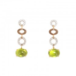White and pink gold earrings, peridot and brilliant cut diamonds