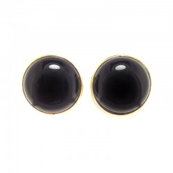 Earrings clips gold-plated silver and onyx cabochon