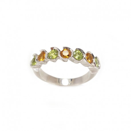 Ring ring, 7 stones in white gold with peridot and topaz yellow