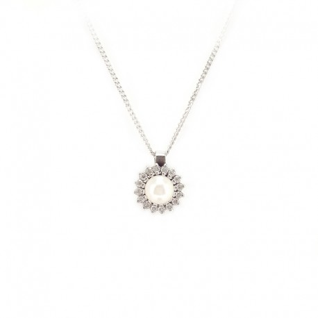 Necklace with chain in white gold with central pearl and diamonds