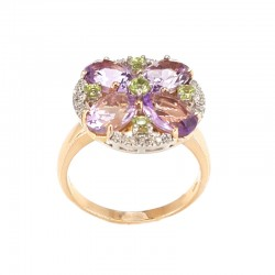 Ring rose and white gold with amethysts, peridot and diamonds