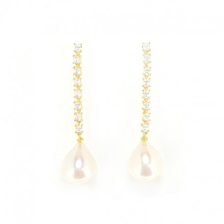 Pendant earrings in gold-plated silver, zircons and pearls