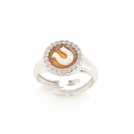 Silver ring with cameo and cubic zirconia