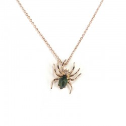 Necklace in pink gold, green tourmaline and brilliant cut diamonds
