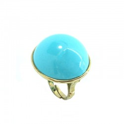 Ring in gold-plated silver and cabochon turquoise paste