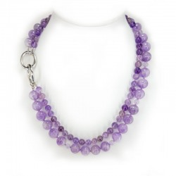 Necklace multi-'m wearing in the beads of amethyst lavender and rutilata and closure in rhodium-plated silver