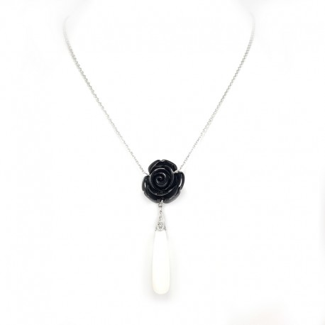White gold necklace and pendant with pink obsidian, white agate and diamonds