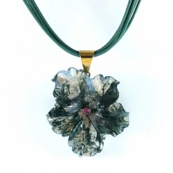 Pendant agate musk rose and ruby lace multi-strand