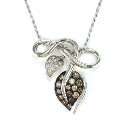 Pendant in white gold, diamonds and brown diamonds with chain white gold